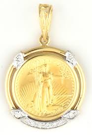 14k yellow gold 1 10th ounce american gold eagle coin pendant
