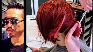 Kenneth Siu Haircut 09 - Hot Red Bob - YouTube