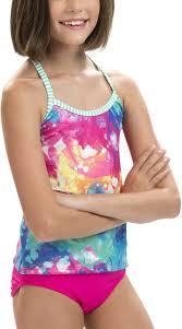 Charming Dolfin Girlsu0027 Uglies Printed Tankini, Size: 10, Multi