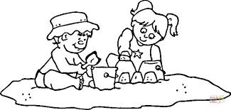 Kinderen Met Emmer En Schep Kleurplaat Gratis Kleurplaten Printen