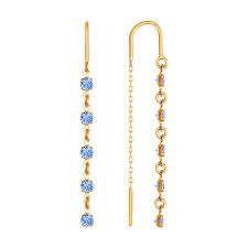 <b>Серьги</b>-<b>цепочки</b> из золота с голубыми фианитами <b>SOKOLOV</b> ...