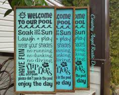 Swimming Pool Decor Signs Pool Decor On Etsy WELCOME To Our POOL Rustic Distressed 84