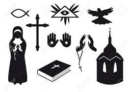 Traditional Symbols Black And White Christian Icons Set Of Christian Symbols
