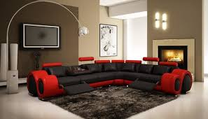 modern living room black and red. Black And Red Sectional Sofa With Adjustable Headrest Modern-living-room Modern Living Room N