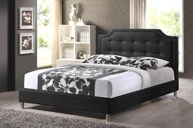 upholstered headboard queen. Baxton Studio Carlotta Black Modern Bed With Upholstered Headboard - Queen Size IEBBT6376-Black H