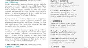 Marketing Resume Templates 100 Marketing Resume Samples Hiring Managers Will Notice Regarding 32