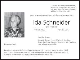 Ida Schneider   Traueranzeige   trauer.inFranken.de