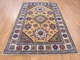 4 x6 gold special kazak tribal design hand knotted oriental rug cwr38812