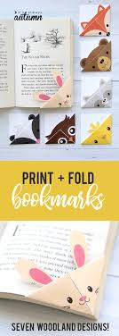 Bookmark Designs To Print Diy Woodland Animals Origami Bookmarks Print Fold Its