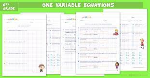 one step equations worksheets for grade