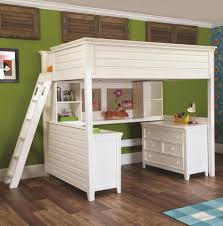 white wooden modern bunk beds with desks and shelves