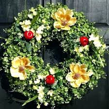 M Wreath For Front Door Fall Wreaths Artificial Boxwood And Eucalyptus  With Red Apples Cream