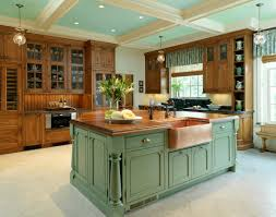 white traditional kitchen copper. Copper-sink-and-green-island White Traditional Kitchen Copper W