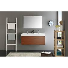 Fresca Mezzo 48 Teak Wall Hung Double Sink Modern Bathroom Vanity w