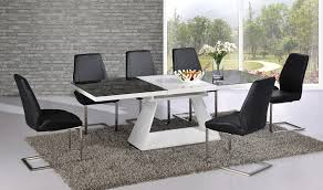 italia black and white high gloss extending dining table 160cm to 220cm