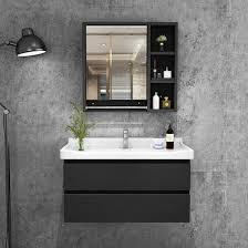 wall mounted black wooden bathroom wall