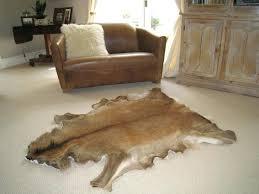 deer hide rug diy chalet area