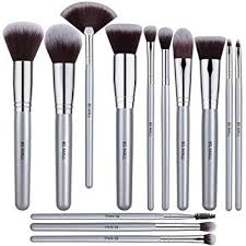 bs mall 12 pcs makeup brush set premium synthetic silver foundation blending blush face powder