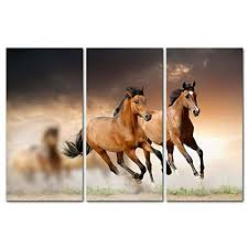 canvas print wall art painting for home decor running wild horse brown horses galloping in sunset 3 piece panel paintings modern giclee artwork the picture  on wild horses wall art with canvas print wall art painting for home decor running wild horse