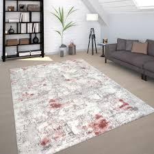 Vintage Teppich Used Design Grau Rosa