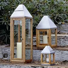 wood and metal lanterns wooden outdoor candle lanterns