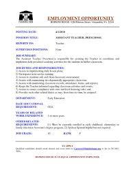 Preschool Teacher Aide Sample Resume Gallery of preschool assistant teacher resume examples google 2