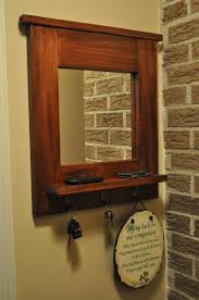 Rubbed Bronze Coat Rack Witching Entryway Wall Mirror Coat Rack in Cherry Wood Paint Color 96