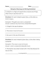 Ideas Collection Metaphors Worksheets On Resume Mediafoxstudio Com