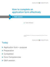 hymans robertson how to complete an application form effectively