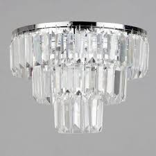 3 tier ceiling flush light crystal effect prism decorative lighting litecraft