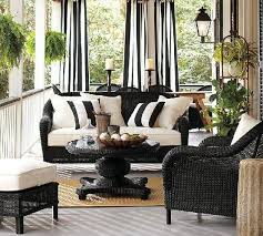 the round pedestal and four footed base create a dramatic look that recalls anglo indian furniture yet its durable all weather wicker construction makes black and white furniture
