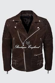 reckless mens brown suede biker style motorcycle real luxury leather jacket