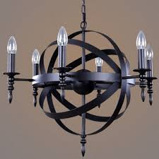 industrial led orb chandelier with globe wire guard in matte black 26 wide 6