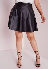 missguided plus size faux leather skater skirt black