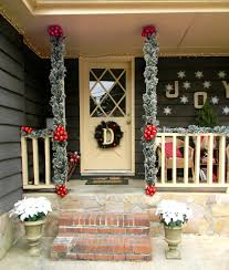 Front Porch Christmas Decorating Ideas: White Glittered Poinsettias