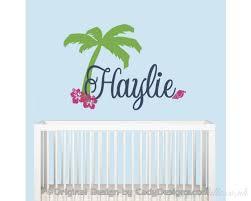 name beach wall decal palm tree wall decal surfer girl name decal beach decor hawaiian decor personalized name