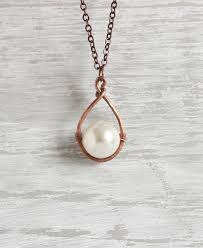 copper pearl necklace copper hoop pendant copper pearl pendant swarovski pearl necklace big pearl necklace copper necklace copper jewelry
