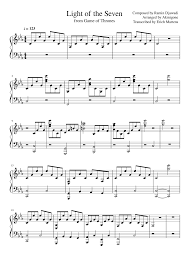 Light Of The Seven Piano Notes Game Of Thrones Light Of The Seven Akmigone Marioverehrer