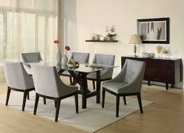 captivating dining room design presenting rectangle gl dining table with dark varnished hardwood frame and interesting grey upholstery fabric dining
