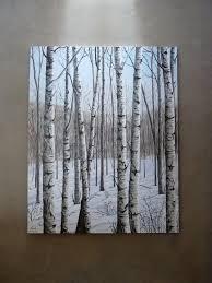 white birches winter paintingpainting treesacrylic