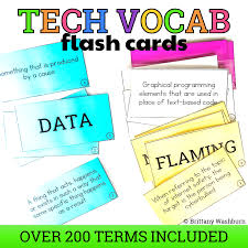 Technology Vocabulary Flash Cards Technology Curriculum