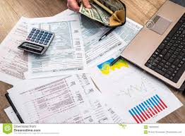1040 Chart Tax Form Money Business Chart Laptop And Calculator