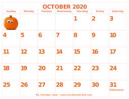 October 2020 Calendar - My Calendar Land