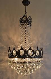 french basket style vintage brass crystals chandelier antique lamp 1906934540