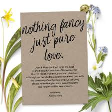 Announcement Postcards Nothing Fancy Just Pure Love Wedding Elopement Announcement Cards