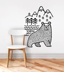 Small Picture large black Bears Fish Mountain wall sticker art decals diy home