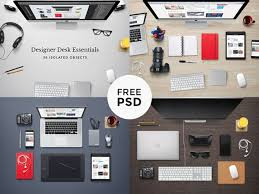 designer office desk isolated objects top view. designer office desk isolated objects top view essentials psd mockup freebie n