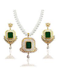 real pearl necklace with american diamond pendant set