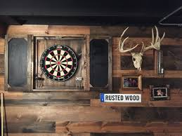 Dart Board Cabinet With Chalkboard Dartboard Cabinet Rustic Corrugated Metal Industrial