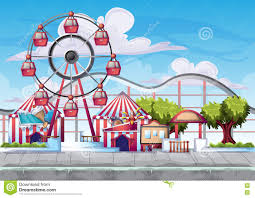 Amusement Park Design Game Cartoon Vector Amusement Park With Separated Layers For Game